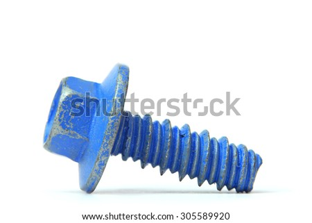Blue color coated tiny screw created with focus stacking for better focus
