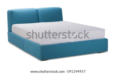 Blue color double bed with mattress. Modern designer, bed bedroom isolated on white background. Series of furniture