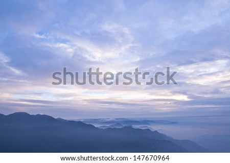 blue color light of mountains during sunset in the Taiwan