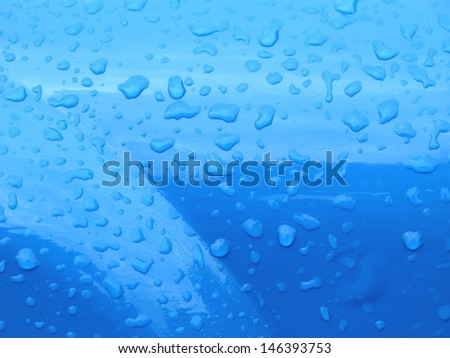Blue color  metal  with water drops
