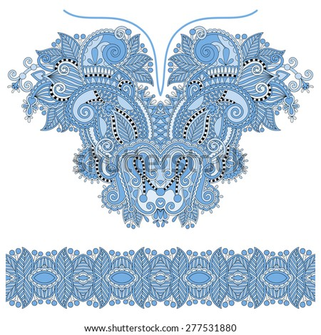 blue color neckline ornate floral paisley embroidery fashion design, ukrainian ethnic style. Good design for print clothes or shirt. raster version - stock photo