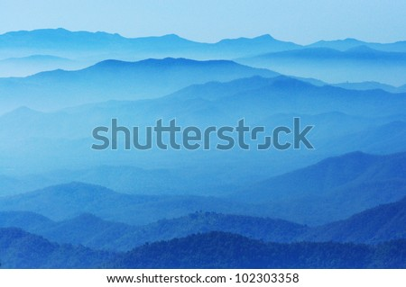 blue color of mountains during sunset  ,Chiang Mai , Thailand - stock photo