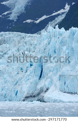 blue color of tidewater glacier in prince william sound in alaska