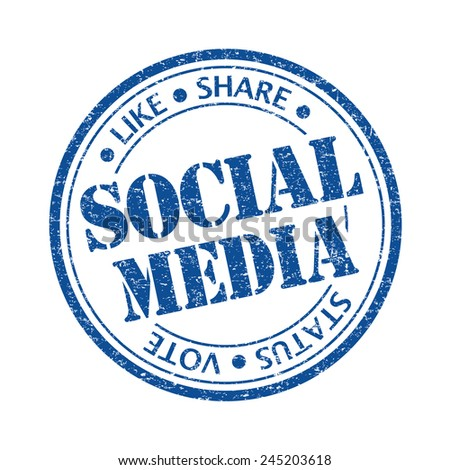 Blue color social media rubber stamp