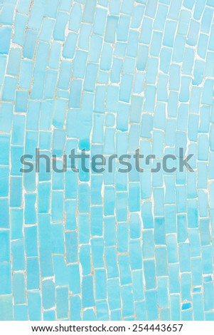 Blue color tone ceramic tiles texture with filling, random size