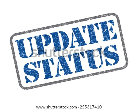 Blue color update status rubber stamp - stock photo