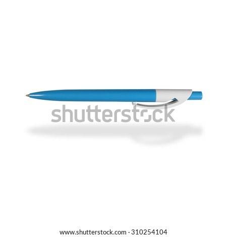 Blue colored ballpoint pens isolated on white background - stock photo