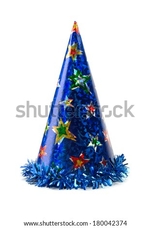 Blue colored cap birthday. Isolate on white background. - stock photo