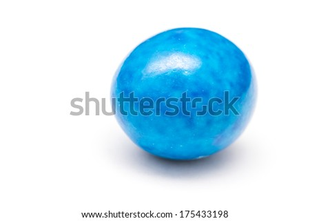 Blue Colored Coated Chocolate Candy Isolated On White