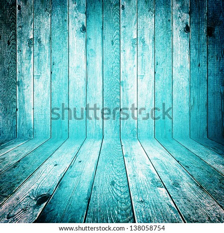 Blue colored wood background - stock photo