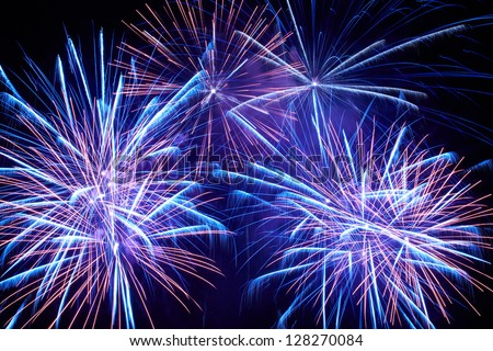Blue colorful fireworks on the black sky background - stock photo