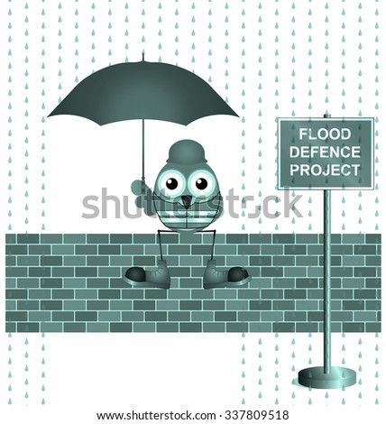 Blue comical construction worker on flood defence project - stock photo