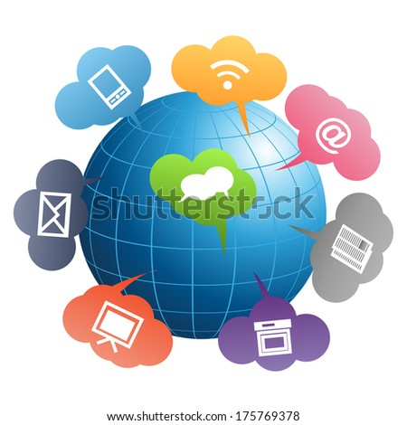 Blue communication globe (Vector version is also available in my portfolio, ID 102890645) - stock photo