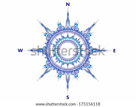 Blue compass fractal abstract - stock photo