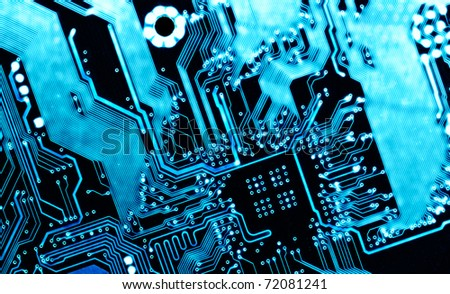 blue computer circuit board background - stock photo