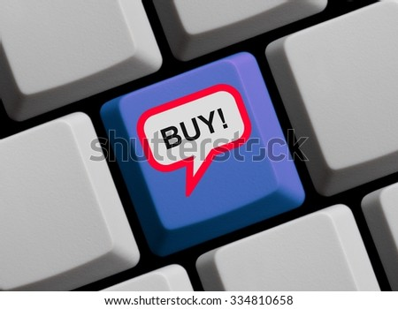 Blue Computer Keyboard with red speech bubble showing Buy