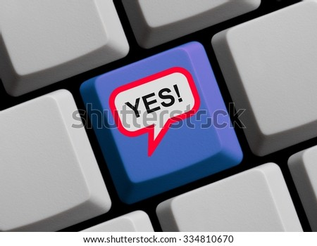 Blue Computer Keyboard with red speech bubble showing Yes