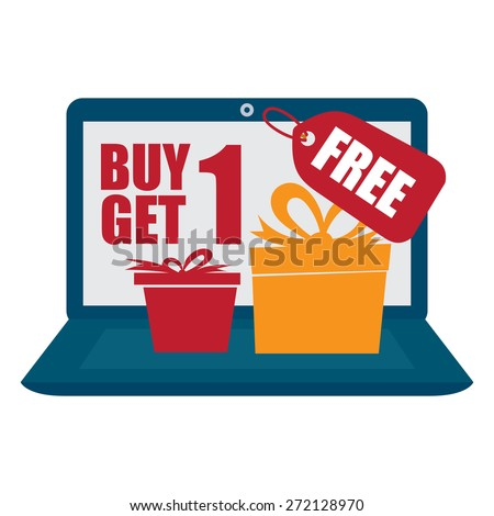 Blue Computer Laptop With Buy 1 Get 1 Free Banner, Sign, Icon or Label Isolated on White Background - stock photo
