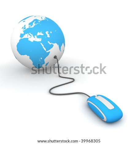 blue computer mouse connected to a blue globe - stock photo