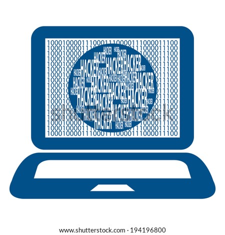 Blue Computer Notebook or Laptop With Binary Number and Hacker Text on Screen Isolated on White Background - stock photo