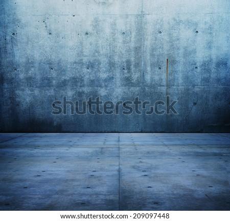 Blue concrete room or corridor. - stock photo