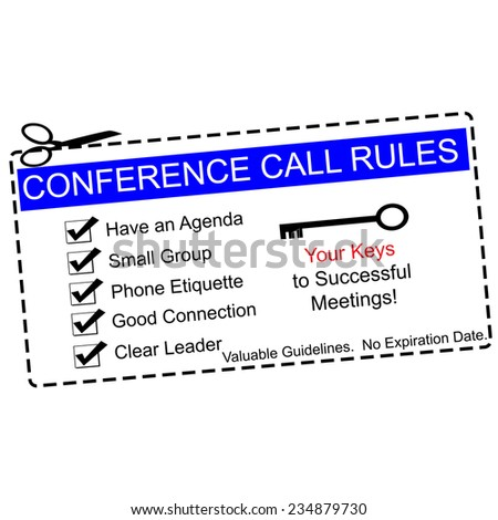 Blue Conference Call Rules Coupon with great terms such as agenda, leader, key and more.