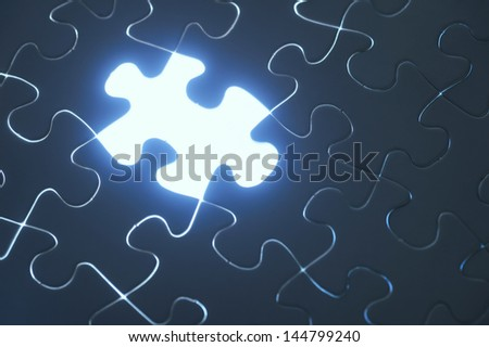 Blue contact puzzle - stock photo
