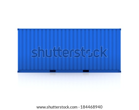 Blue container.Isolated on white.3d rendered. - stock photo