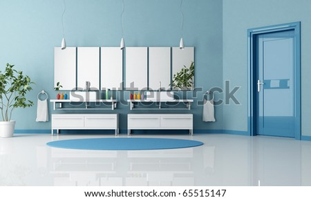 blue contemporary bathroom with double contemporary sink and door - rendering - stock photo