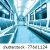 blue contemporary illuminated carriage interior - stock photo