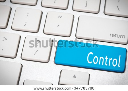Blue control king button on the keyboard - stock photo