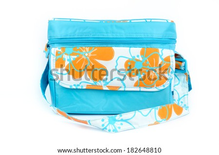 blue cooler bag with carrying strap isolated on white background - stock photo