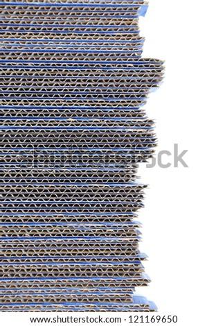 Blue corrugated cardboard isolated on white background - stock photo