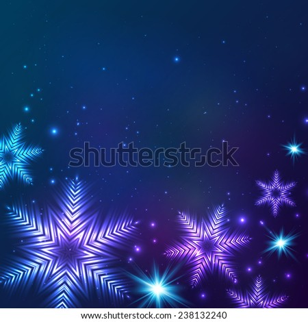 Blue cosmic snowflakes Christmas abstract background - stock photo