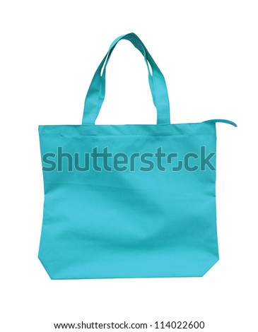 blue cotton bag - stock photo