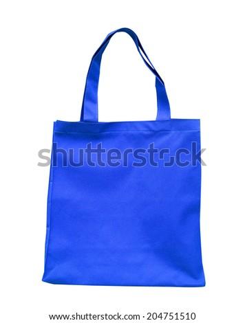 blue cotton bag - stock photo