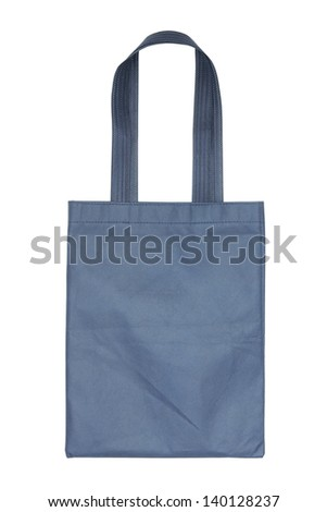 blue cotton bag isolated on white background with clipping path