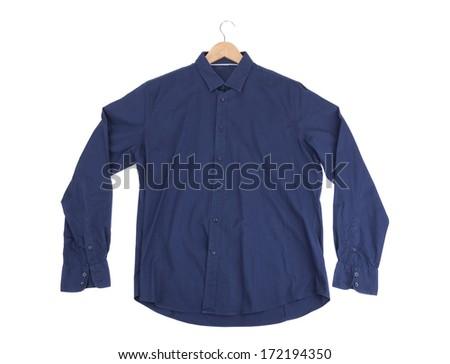 Blue cotton Mens Shirt. On the rack. - stock photo