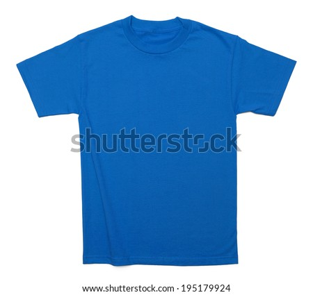 Blue Cotton Shirt with Copy Space Isolated on White Background. - stock photo