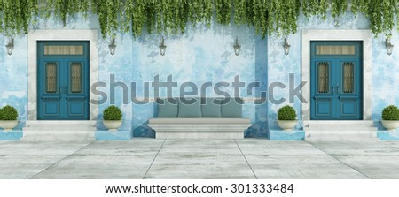Blue country house with two front door and stone bench - 3D Rendering - stock photo