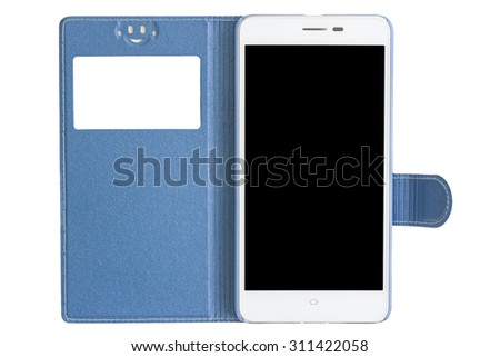 blue cover and white smart phone on white background - stock photo