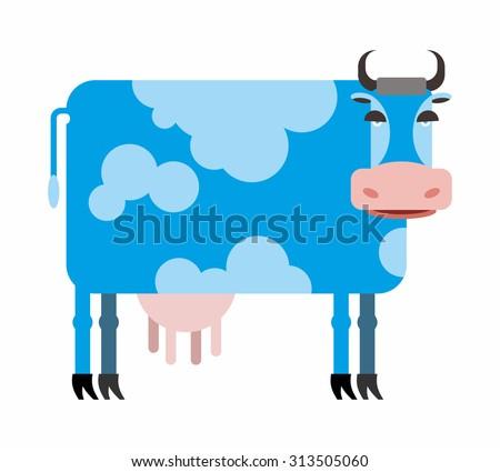 Blue cow  white background. Illustration of farm animals - stock photo