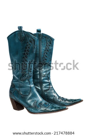 Blue cowboy boots isolated on a white background - stock photo