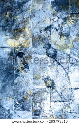 blue crackle wall texture, color crackle background. With Bird  - stock photo