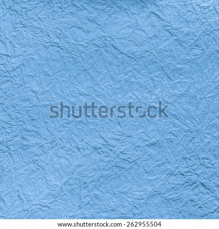 Blue craft crumpled paper texture background - stock photo