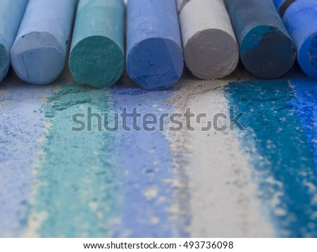 blue crayons, colorful image