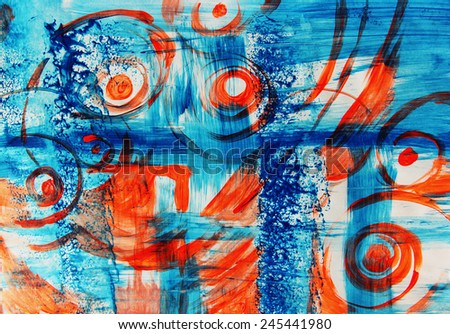 Blue creative background with patterns, Sea abstract, Layered background or Blue and orange background - stock photo