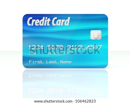 Blue credit card template design on white background