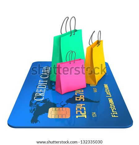 Blue credit card with three colorful shopping bags. - stock photo
