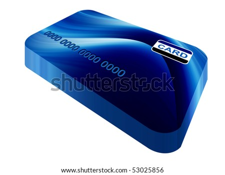 Blue credit cards over white background. Illustration